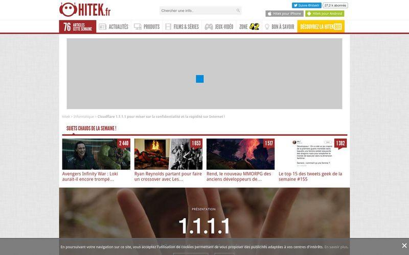 Hitek : Cloudflare 1.1.1.1 pour miser sur la confidentialité et la rapidité sur Internet !